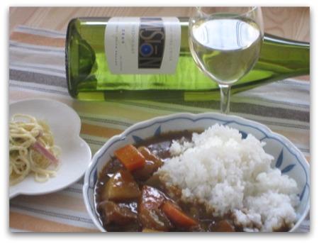 カレーと白ワイン