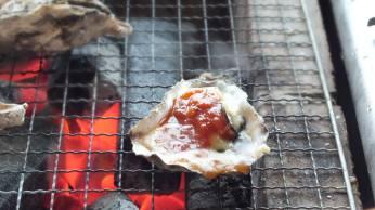 かき小屋で焼く牡蠣 トマトソース 2